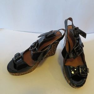 JEFFREY CAMPBELL BLACK PATENT LEATHER WOODEN WEDGE